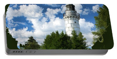 Cana Island Lighthouse Cloudscape In Door County Portable Battery Charger
