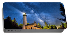 Cana Island Lighthouse Milky Way In Door County Wisconsin Portable Battery Charger
