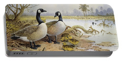 Canada Geese Portable Battery Charger by Carl Donner