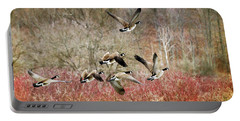 Canada Geese In Flight Portable Battery Charger