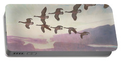 Canada Geese In Spring Portable Battery Charger
