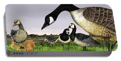 Canada Goose - Greylag Goose With Fledglings Chicks - White Fronted Goose -  Barnacle Goose Portable Battery Charger