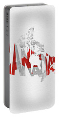 Canada Typographic Map Flag Portable Battery Charger