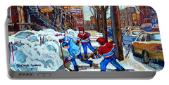 Canadian Art Street Hockey Game Verdun Montreal Memories Winter City Scene Paintings Carole Spandau Portable Battery Charger