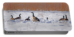 Canadian Geese At Sunrise I Portable Battery Charger