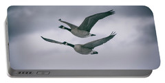 Canadian Geese In Flight Portable Battery Charger by Jason Coward