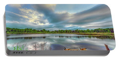 Canadian Geese On A Marylamd Pond Portable Battery Charger