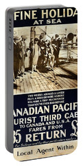 Canadian Pacific - A Fine Holiday At Sea - Retro Travel Poster - Vintage Poster Portable Battery Charger