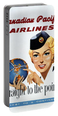 Canadian Pacific Airlines - Straight To The Point - Retro Travel Poster - Vintage Poster Portable Battery Charger