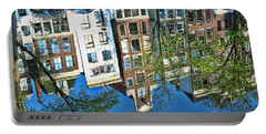 Portable Battery Charger featuring the photograph Amsterdam Canal Reflection  by Allen Beatty