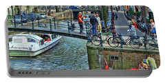 Portable Battery Charger featuring the photograph Amsterdam Canal Scene 1 by Allen Beatty