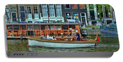 Portable Battery Charger featuring the photograph Amsterdam Canal Scene 10 by Allen Beatty