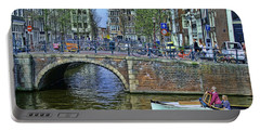Portable Battery Charger featuring the photograph Amsterdam Canal Scene 3 by Allen Beatty