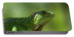 Candid Green Iguana In The Carribean Portable Battery Charger by DejaVu Designs