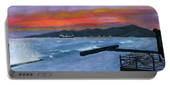 Portable Battery Charger featuring the painting Candidasa Sunset Bali Indonesia by Melly Terpening