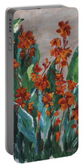Portable Battery Charger featuring the painting Cannas by Jamie Frier