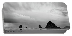Cannon Beach In Black And White Portable Battery Charger