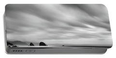 Cannon Beach Long Exposure Sunrise In Black And White Portable Battery Charger