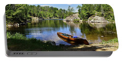 Canoe At The Portage Landing -- Slim Lake Portable Battery Charger