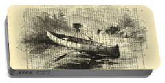 Canoe With Field Camera In Black And White Antique Illustration Portable Battery Charger