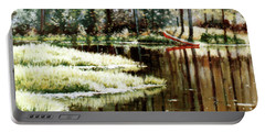 Canoe On Pond Portable Battery Charger