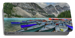 Canoes On Moraine Lake  Portable Battery Charger