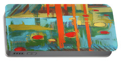 Portable Battery Charger featuring the painting Cantaloupe Island by Erin Fickert-Rowland