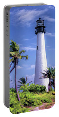 Portable Battery Charger featuring the painting Cape Florida Lighthouse by Christopher Arndt