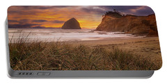 Cape Kiwanda In Pacific City Beach At Sunset Portable Battery Charger
