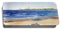 Portable Battery Charger featuring the painting Cape May Beach by Clara Sue Beym