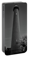 Portable Battery Charger featuring the photograph Cape May Lighthouse In Evening Bw by Kristia Adams