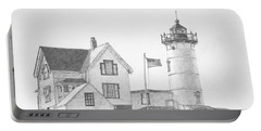 Cape Neddick Light House Drawing Portable Battery Charger