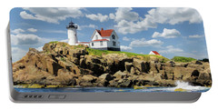 Portable Battery Charger featuring the painting Cape Neddick Lighthouse by Christopher Arndt