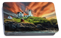 Portable Battery Charger featuring the digital art Cape Neddick Nubble Lighthouse by Lois Bryan