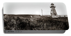 Portable Battery Charger featuring the photograph Cape Tryon Light - Bw by Chris Bordeleau