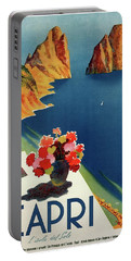 Capri Island Of The Sun - Italy Vintage Travel  1952 Portable Battery Charger by Daniel Hagerman