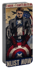 Portable Battery Charger featuring the painting Captain America Recruiting Poster by Dale Loos Jr