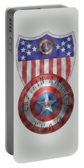 Captain America Shields On Gold  Portable Battery Charger by Georgeta Blanaru