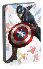 Portable Battery Charger featuring the mixed media Captain America Splash Super Hero Series by Movie Poster Prints