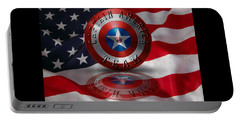 Captain America Team Typography On Captain America Shield  Portable Battery Charger by Georgeta Blanaru