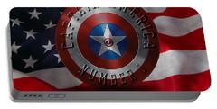 Captain America Typography On Captain America Shield  Portable Battery Charger by Georgeta Blanaru