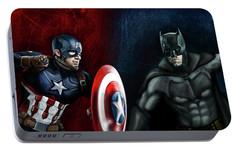 Captain America Vs Batman Portable Battery Charger by Vinny John Usuriello
