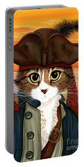 Portable Battery Charger featuring the painting Captain Leo - Pirate Cat And Rat by Carrie Hawks
