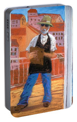 Portable Battery Charger featuring the painting Captured In Antibes by Gary Coleman