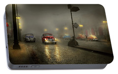 Portable Battery Charger featuring the photograph Car - Down A Lonely Road 1940 by Mike Savad