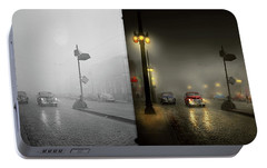 Portable Battery Charger featuring the photograph Car - Down A Lonely Road 1940 - Side By Side by Mike Savad