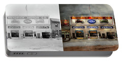 Portable Battery Charger featuring the photograph Car - Garage - Hendricks Motor Co 1928 - Side By Side by Mike Savad