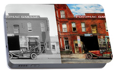 Portable Battery Charger featuring the photograph Car - Garage - Misfit Garage 1922 - Side By Side by Mike Savad
