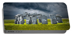 Car Henge In Alliance Nebraska After England's Stonehenge Portable Battery Charger by Randall Nyhof