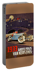 Car Racing Christmas Poster Of The 30s Portable Battery Charger